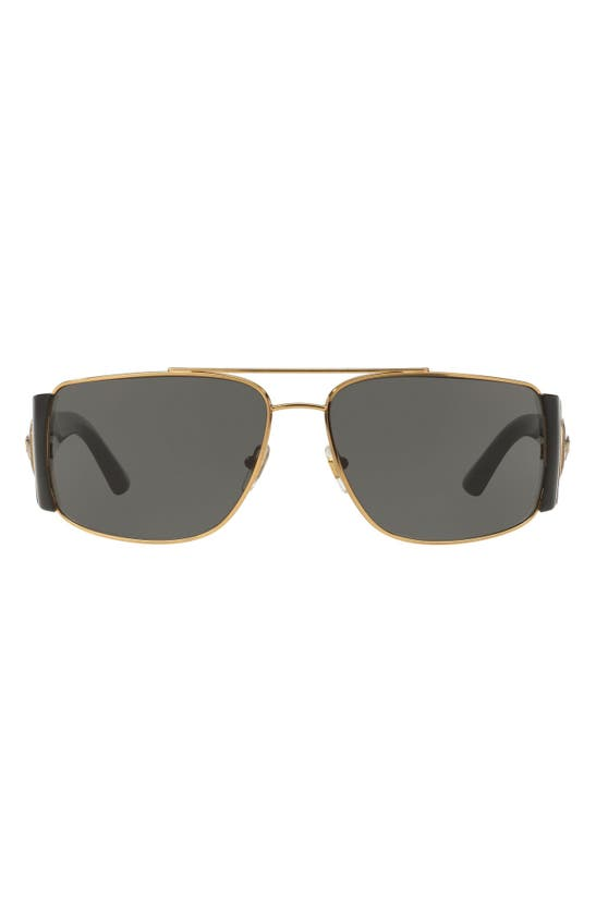 Versace Medusa Medallion 63mm Wrap Sunglasses In Gold/ Black Solid