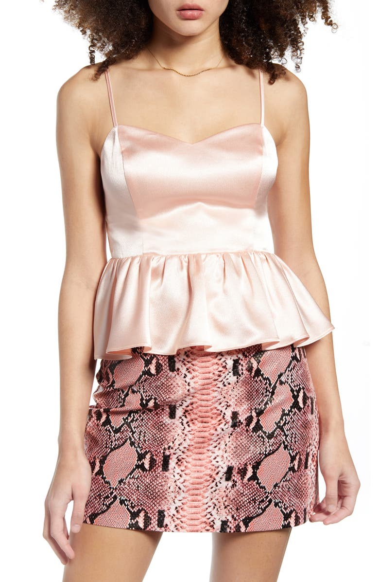 ENDLESS ROSE Peplum Camisole, Main, color, PINK