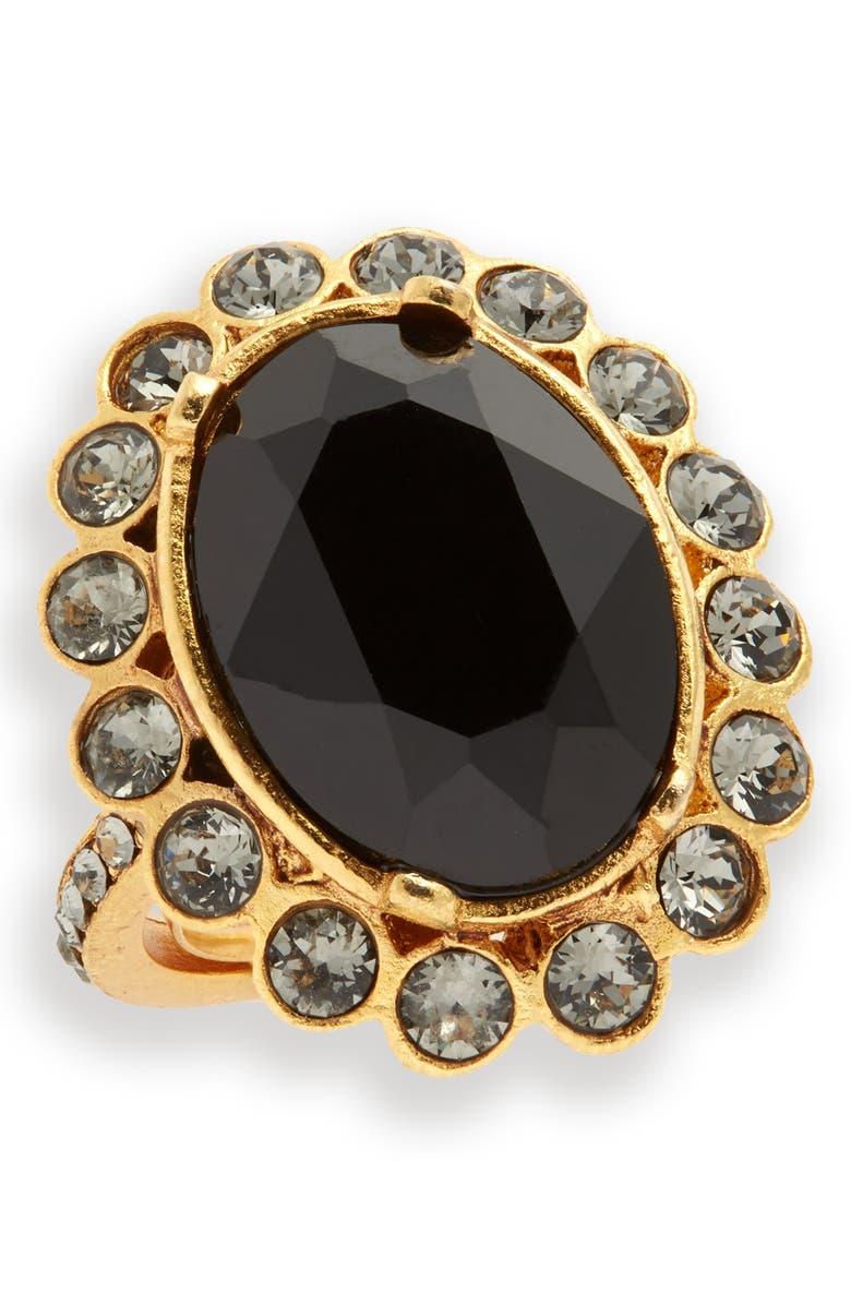 OSCAR DE LA RENTA Crystal Flower Ring, Main, color, BLACK
