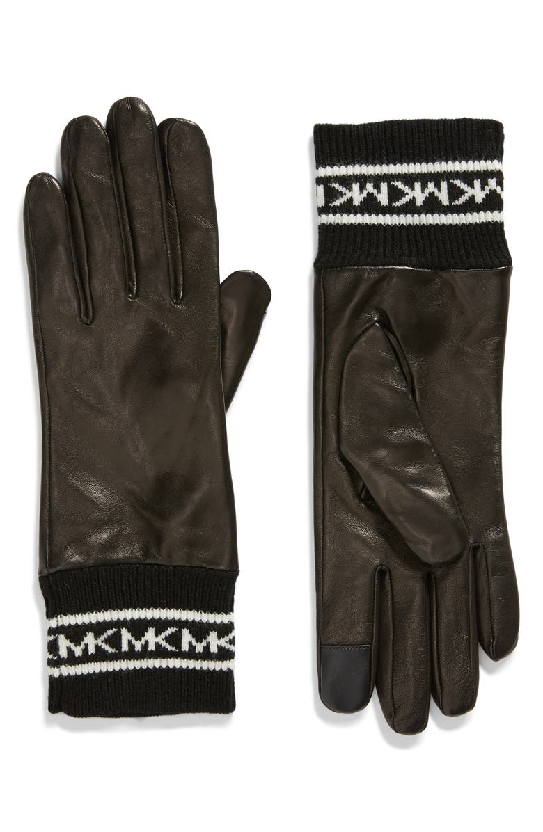 MICHAEL MICHAEL KORS Logo Cuff Leather Tech Gloves, Main, color, BLACK