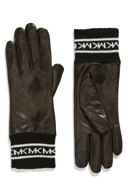 Michael Michael Kors Logo Cuff Leather Tech Gloves In Black