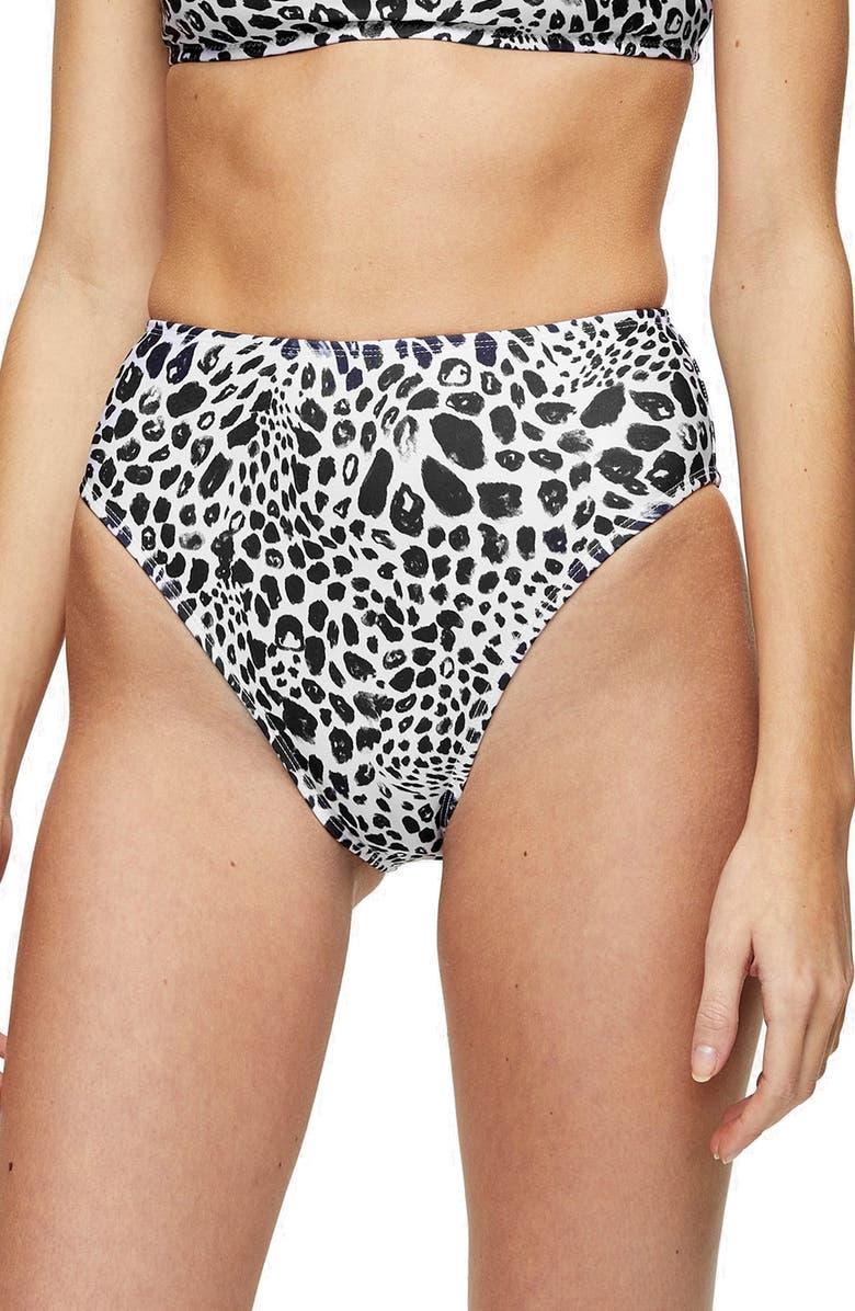 TOPSHOP Spot High Waist Bikini Bottoms, Main, color, BLACK MULTI