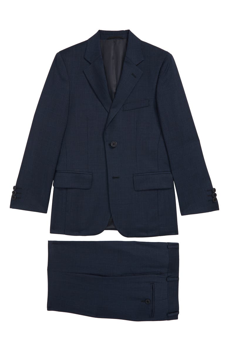 JB JR. Microcheck Wool Suit, Main, color, NAVY