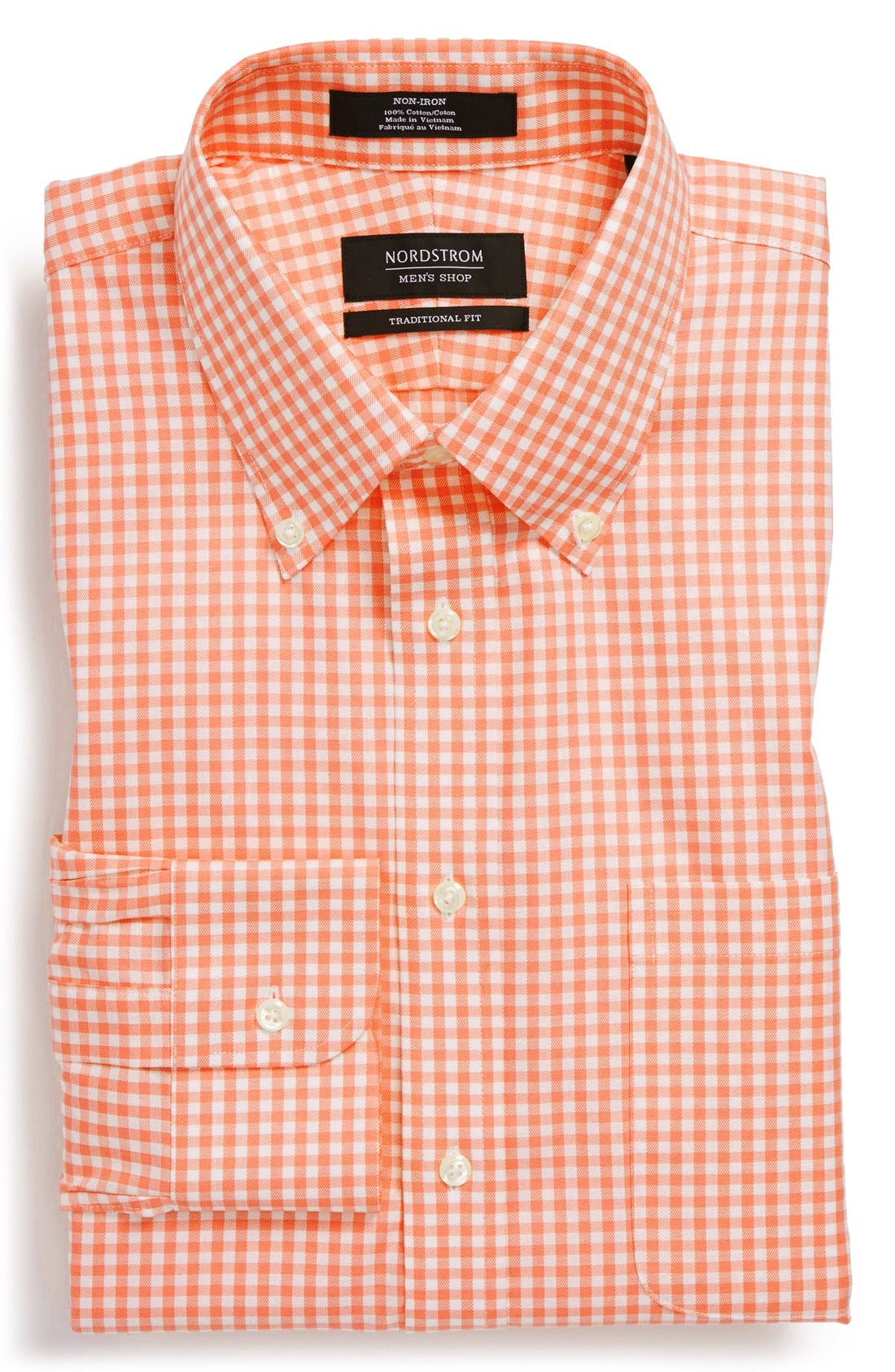 ,                             Traditional Fit Non-Iron Gingham Dress Shirt,                             Main thumbnail 77, color,                             800
