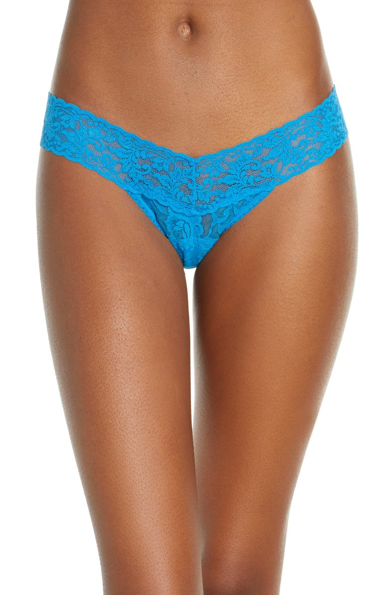HANKY PANKY Signature Lace Low Rise Thong, Main, color, CERULEAN BLUE