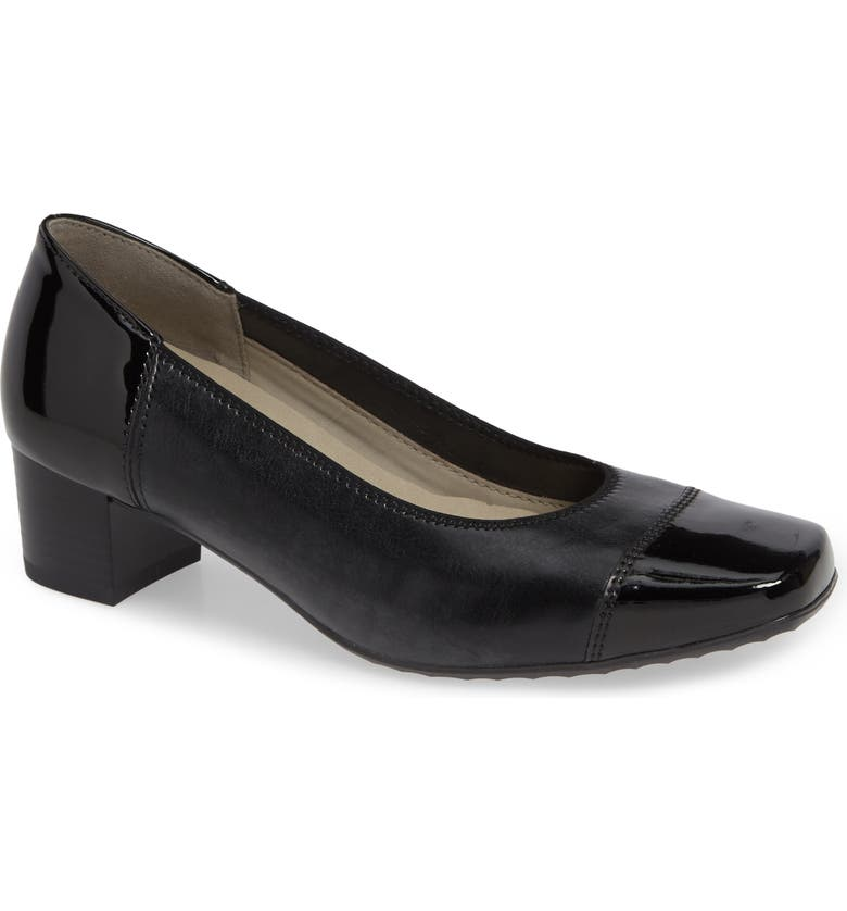 ARA Evan Cap Toe Pump, Main, color, BLACK LEATHER