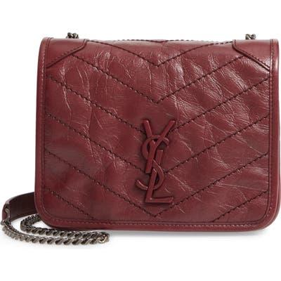 Saint Laurent Niki Leather Crossbody Bag - Burgundy