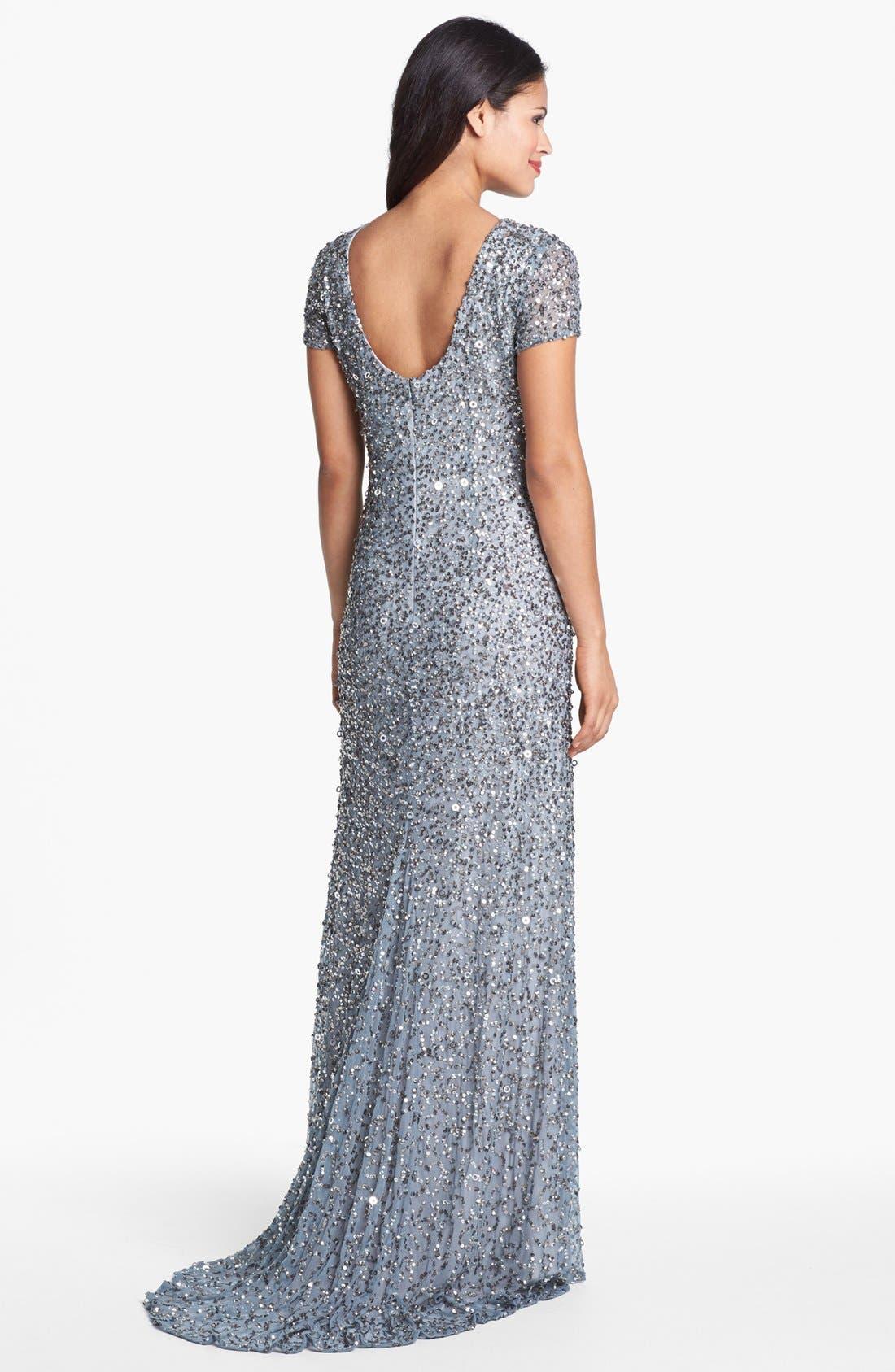 ,                             Short Sleeve Sequin Mesh Gown,                             Alternate thumbnail 46, color,                             400