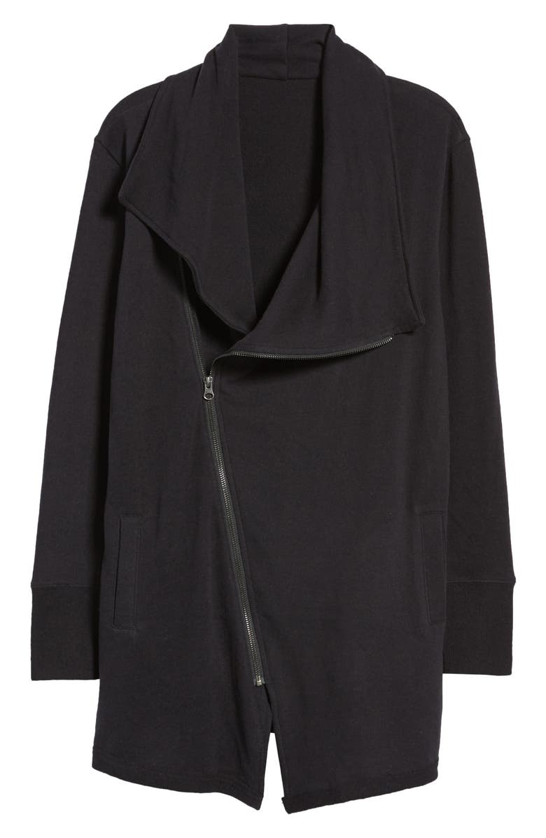 CASLON<SUP>®</SUP> Asymmetrical Drape Collar Terry Jacket, Main, color, BLACK