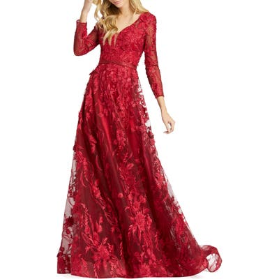 MAC Duggal Long Sleeve Floral Applique Mesh Gown