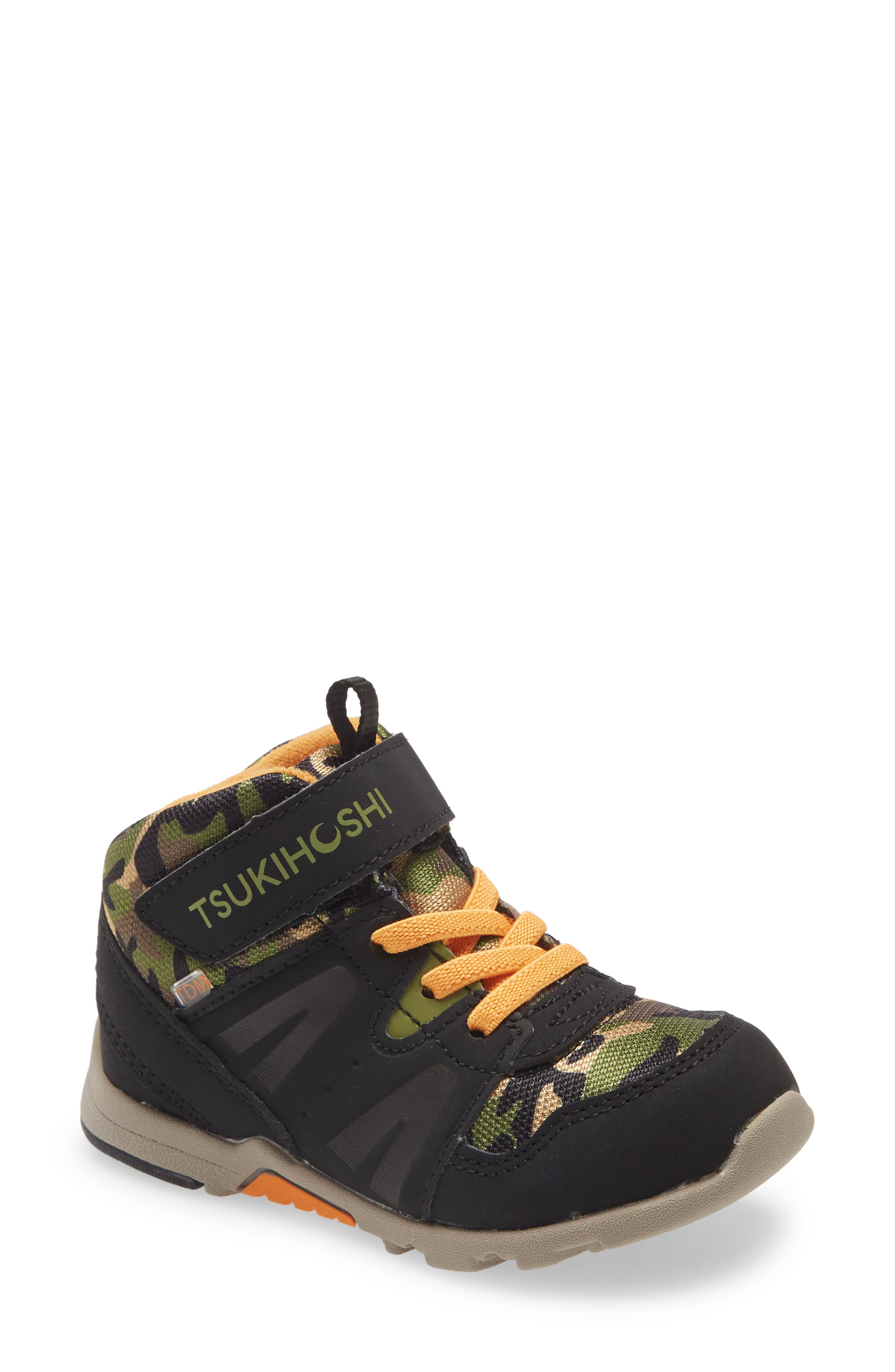 Sturdy, sporty and impervious to water, this machine-washable kids\\\' sneaker boot pairs a rugged camo upper with lightweight, barefoot comfort. Elastic laces and a hook-and-loop bridge strap make it easy to put on and take off, while a molded heel cup and a grippy rubber tread provide stability and traction in wet or dry conditions. Style Name: Tsukihoshi Kids\\\' Hike Waterproof Sneaker Boot (Little Kid & Big Kid). Style Number: 6145535. Available