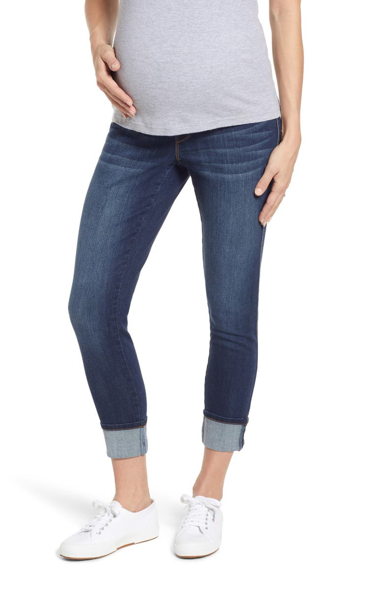 1822 DENIM Clean Cuff Skinny Maternity Jeans, Main, color, LENNOX