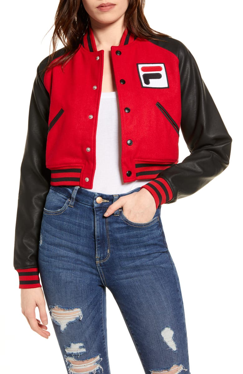 FILA Rosalie Sequin Logo Crop Bomber Jacket, Main, color, RED/ BLACK/ WHITE