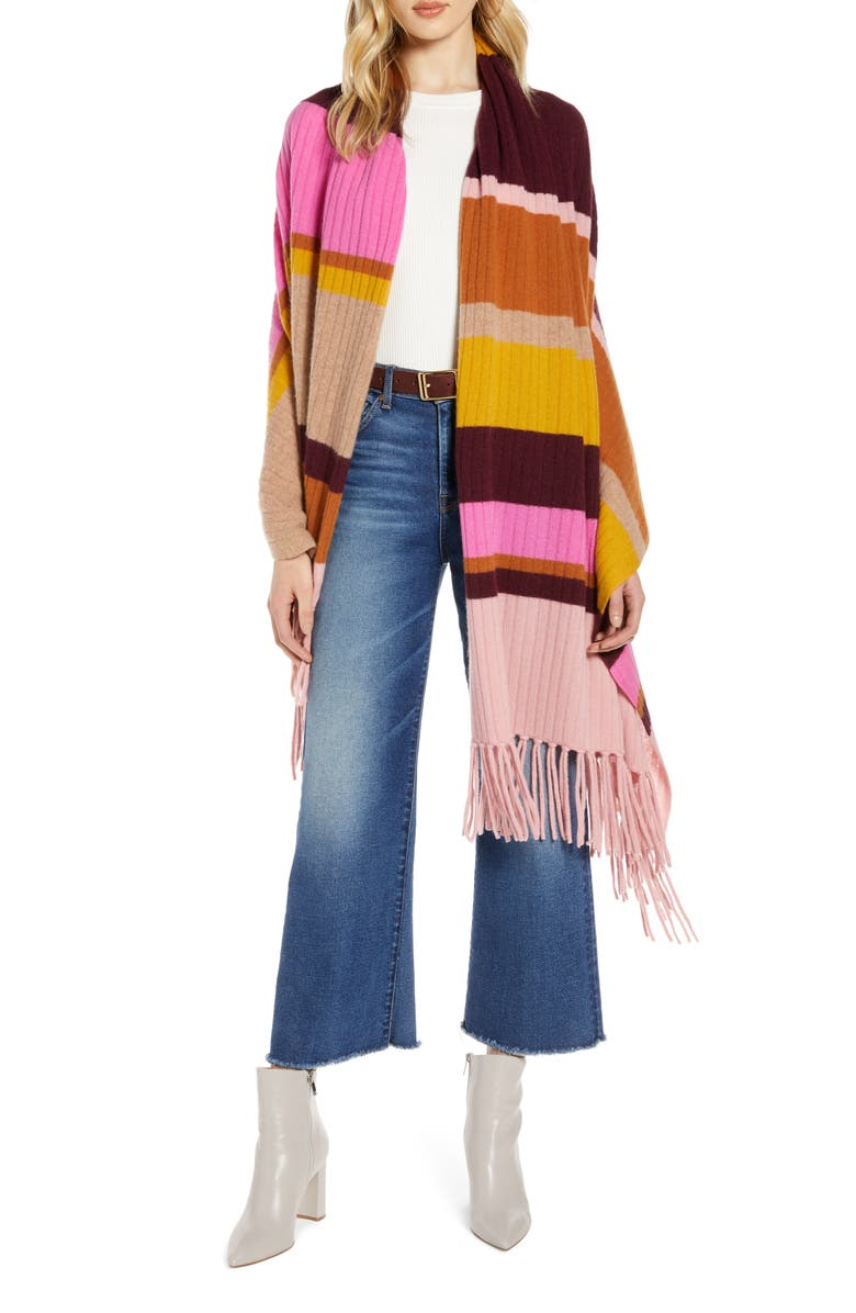 HALOGEN<SUP>®</SUP> Stripe Fringe Cashmere Wrap Scarf, Main, color, BURGUNDY COMBO