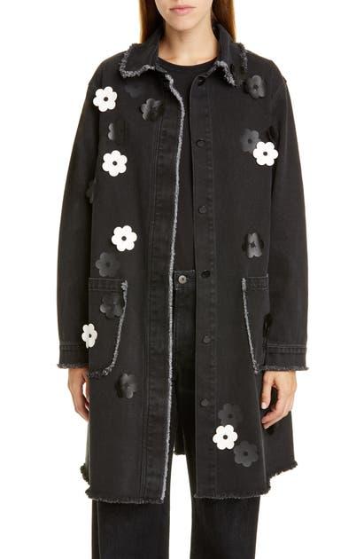 Paskal Coats FLORAL APPLIQUE DENIM COAT