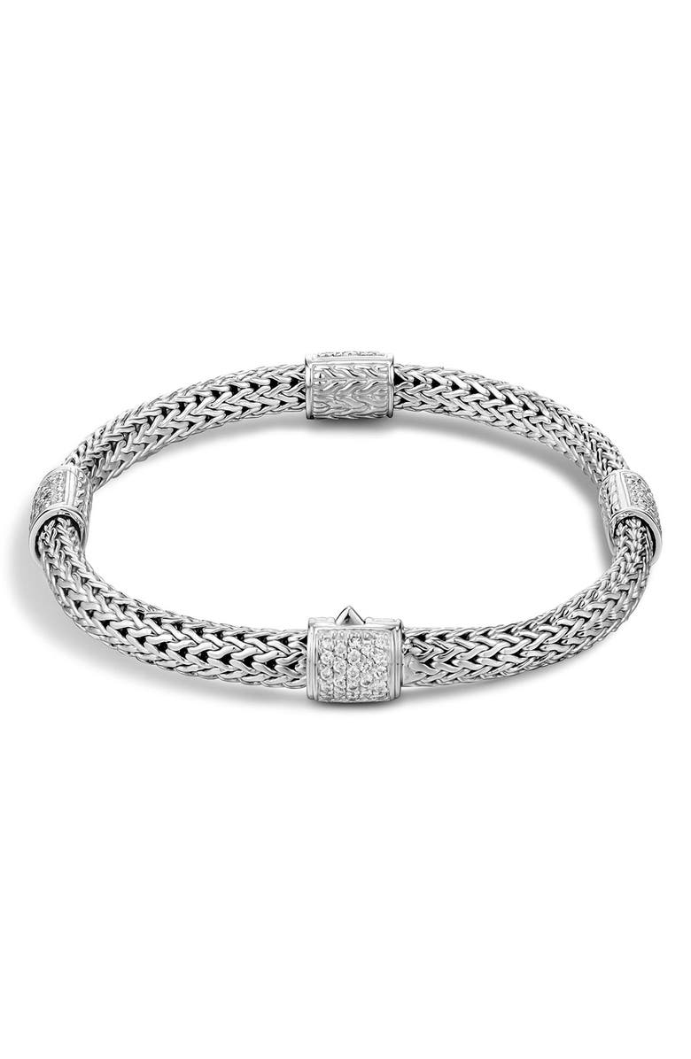 JOHN HARDY 4-Station Bracelet with Diamond Pavé, Main, color, SILVER