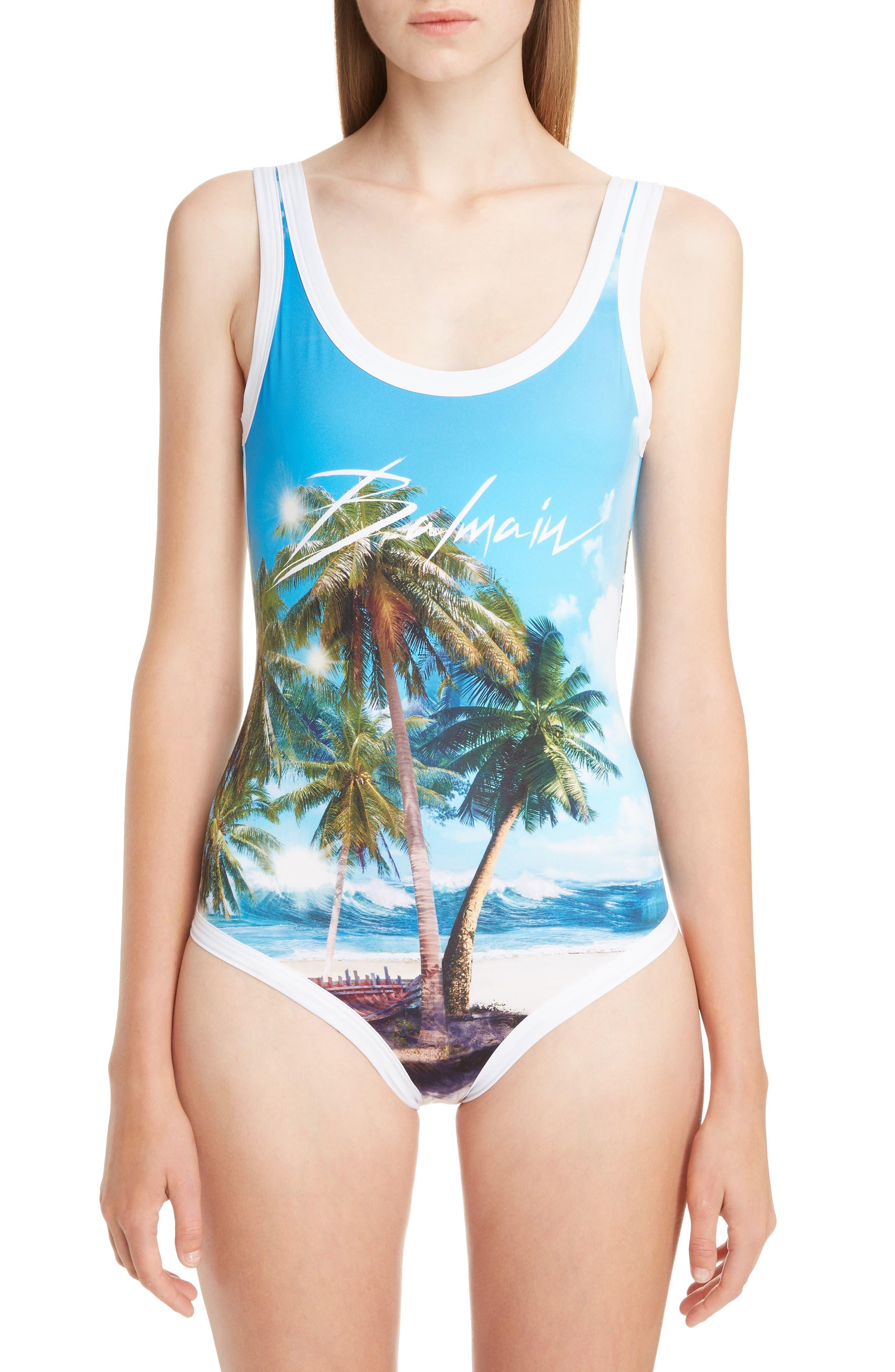 Balmain Beach Print One-Piece Swimsuit, Blue