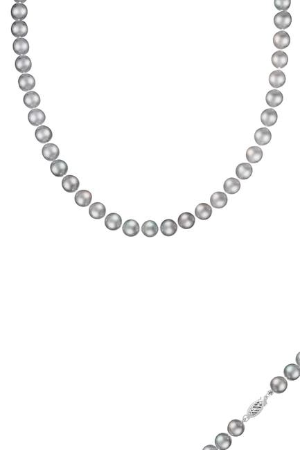 Image of Splendid Pearls 14K White Gold 9-10mm Gray Freshwater Pearl Necklace