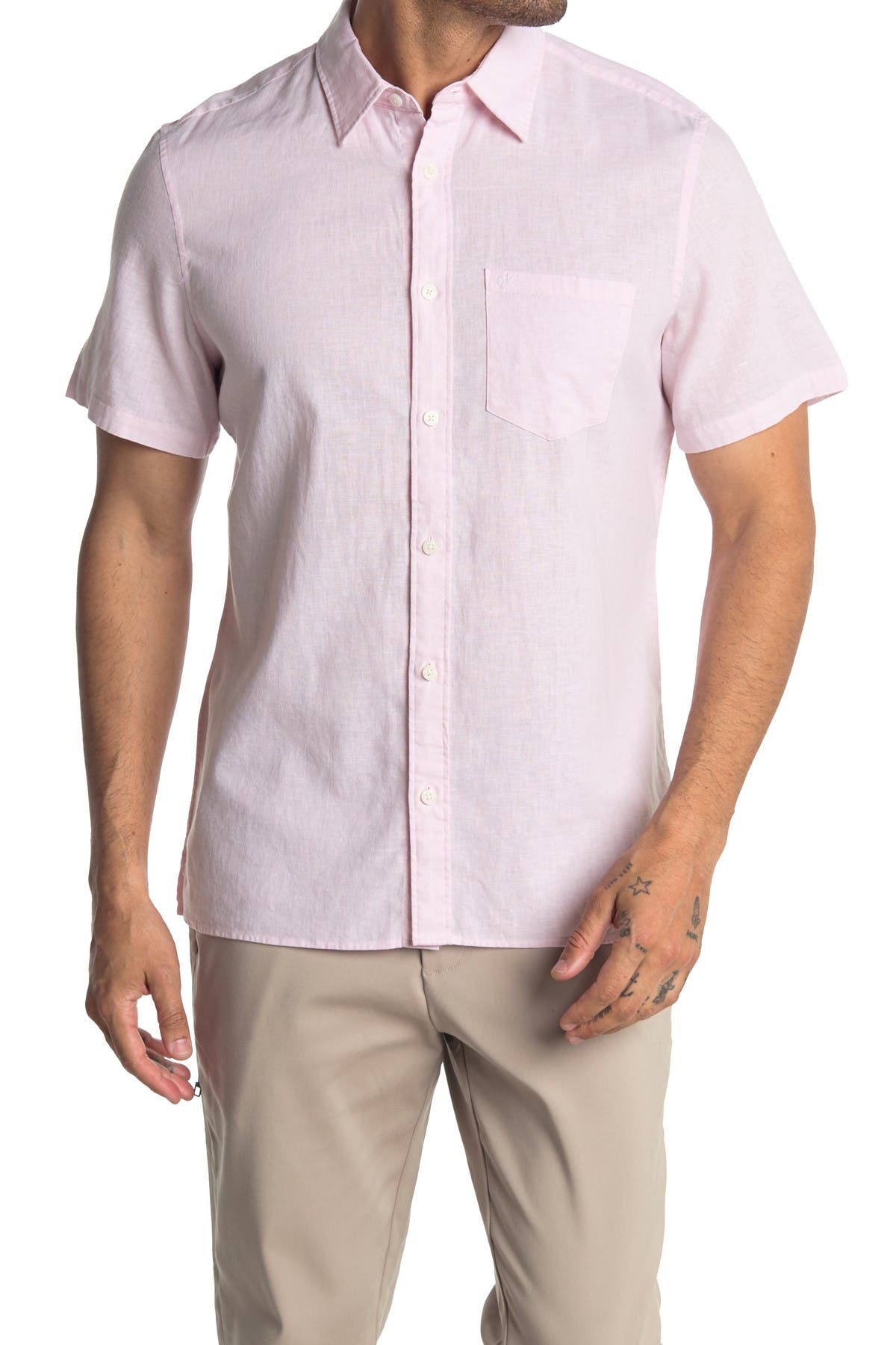 Image of Calvin Klein Short Sleeve Stretch Linen Shirt
