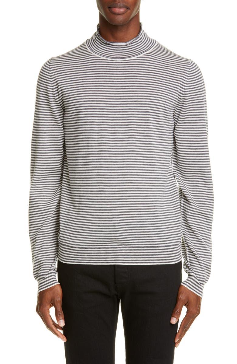 MAISON MARGIELA Stripe Mock Neck Wool Sweater, Main, color, AUBERGINE STRIPES