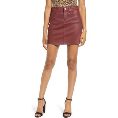 Blanknyc Coated Denim Miniskirt, Red