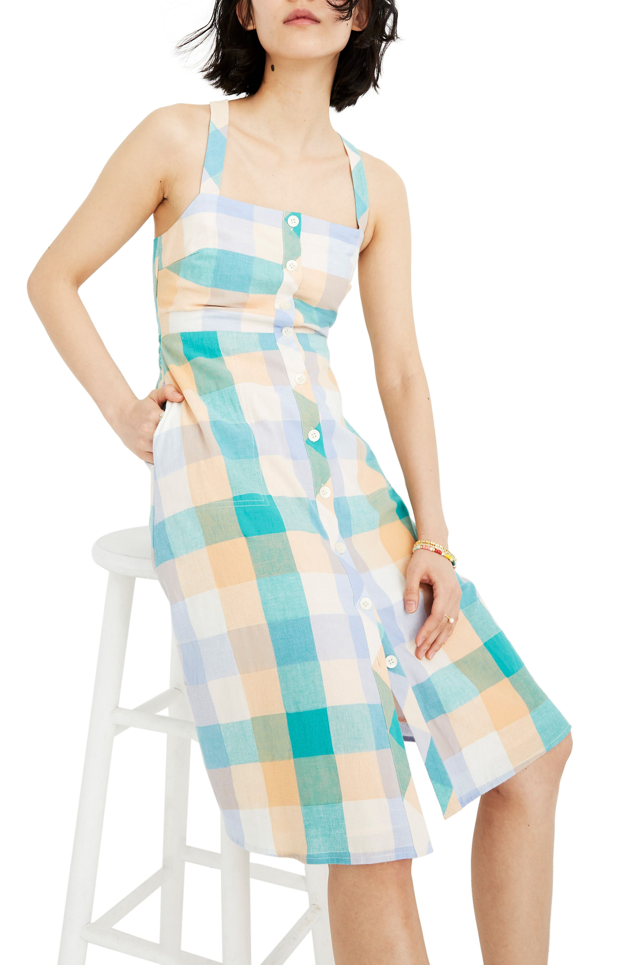Madewell Rainbow Check Button Front Midi Dress, Blue