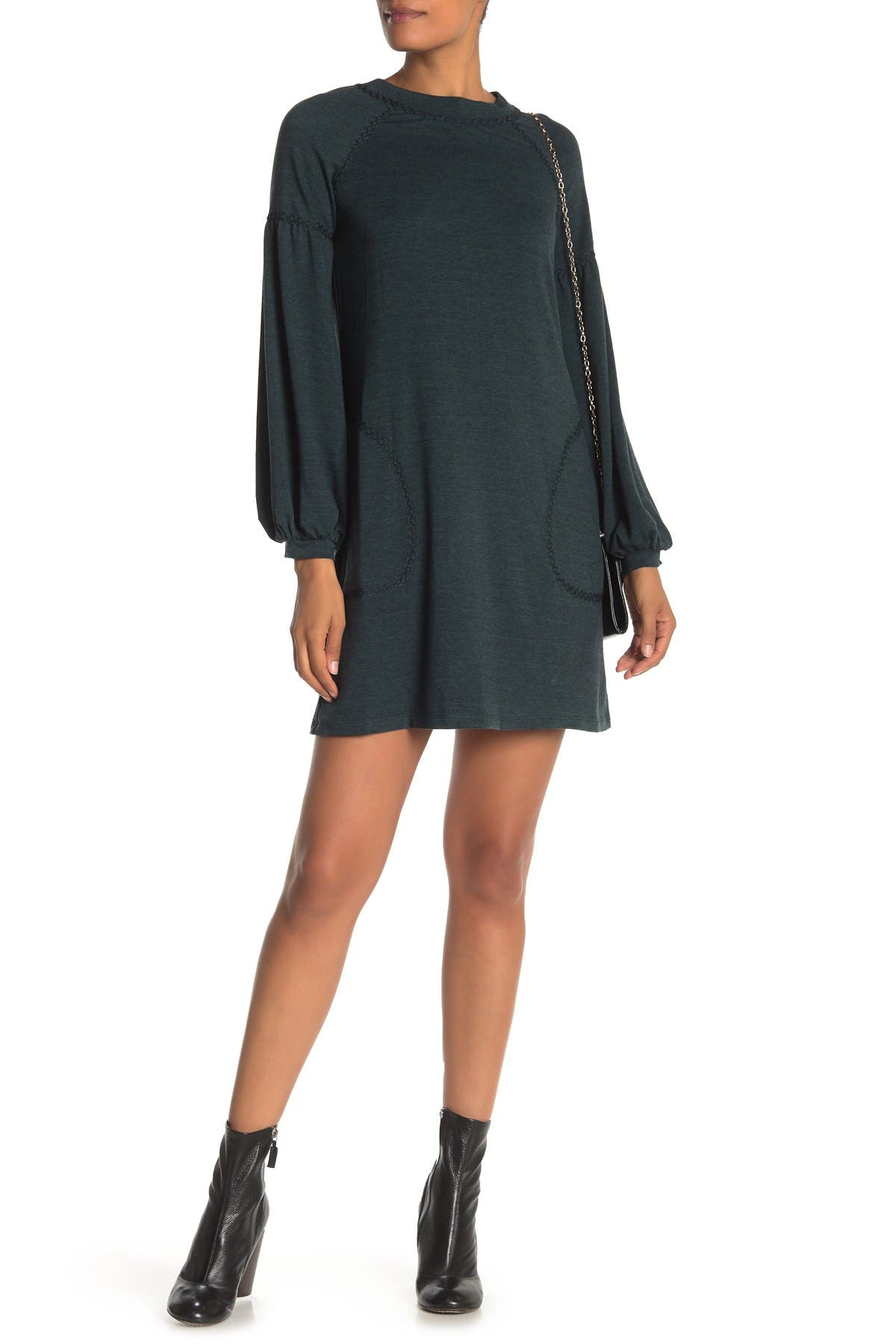 Image of Max Studio Topstitched Puffy Sleeve Sweater Dress