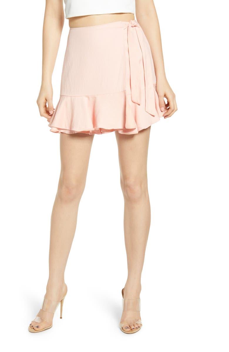 4SI3NNA Ruffle Wrap Miniskirt, Main, color, PINK