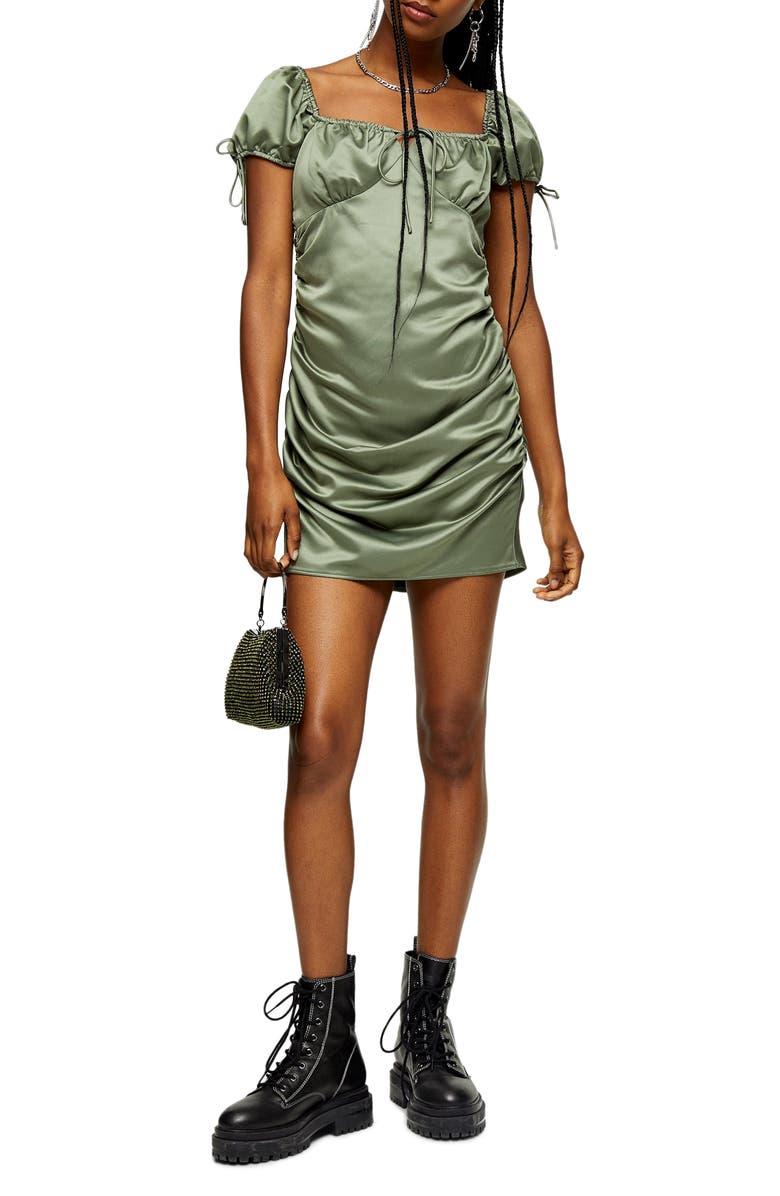 TOPSHOP Gypsy Satin Minidress, Main, color, OLIVE