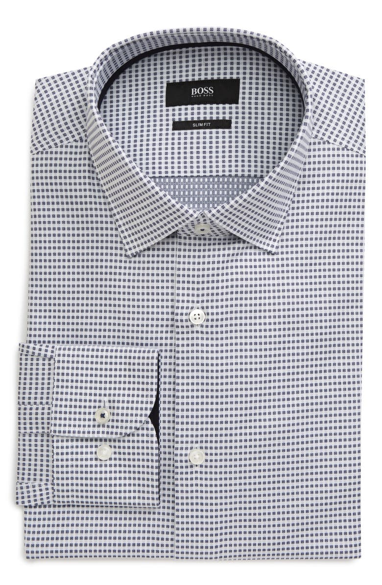 BOSS Slim Fit Geometric Print Dress Shirt, Main, color, BLUE