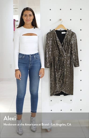 Faux Wrap Sequin Cocktail Dress, sales video thumbnail