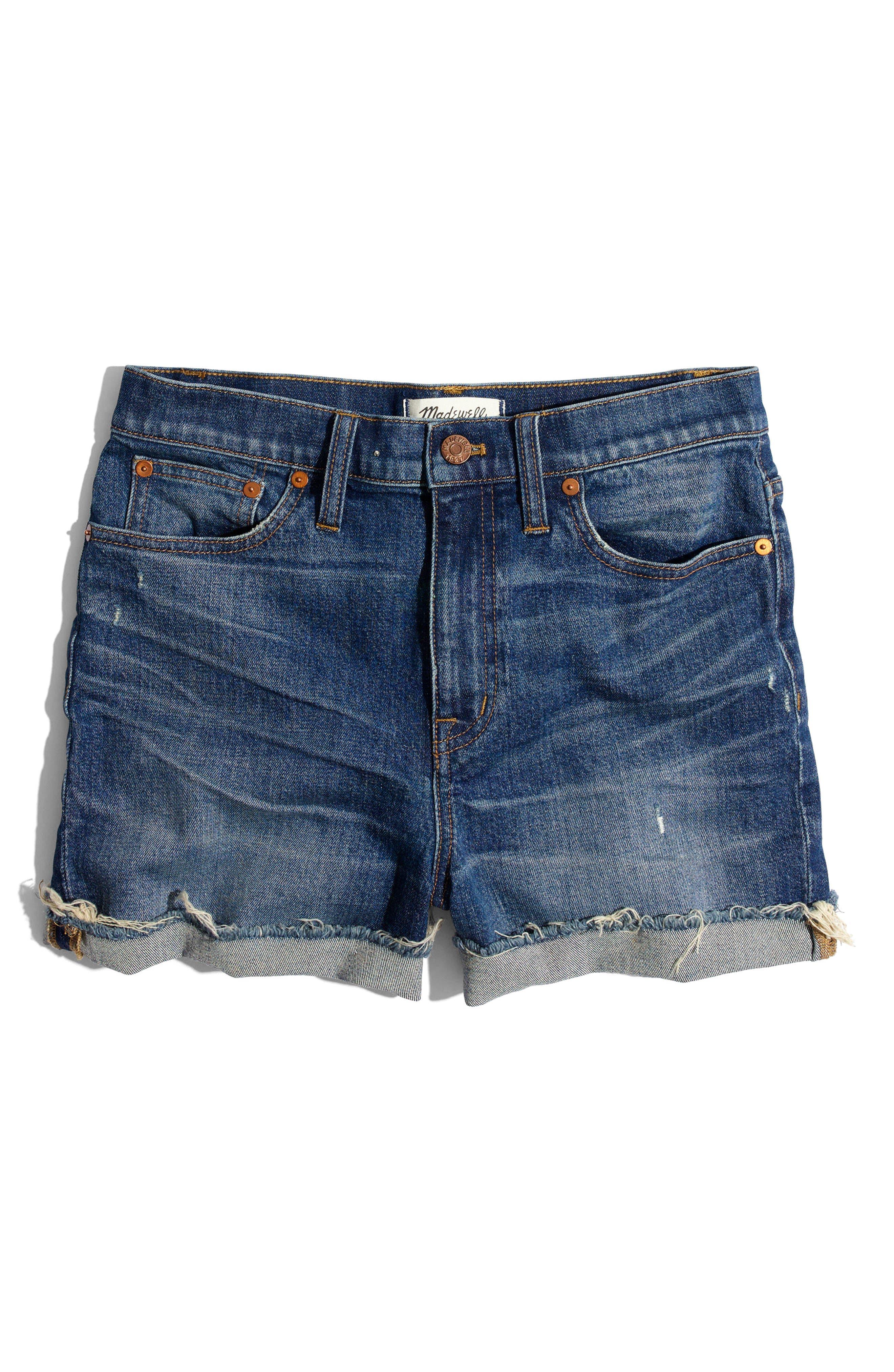 ,                             High Rise Cuffed Denim Shorts,                             Alternate thumbnail 7, color,                             GLEN OAKS
