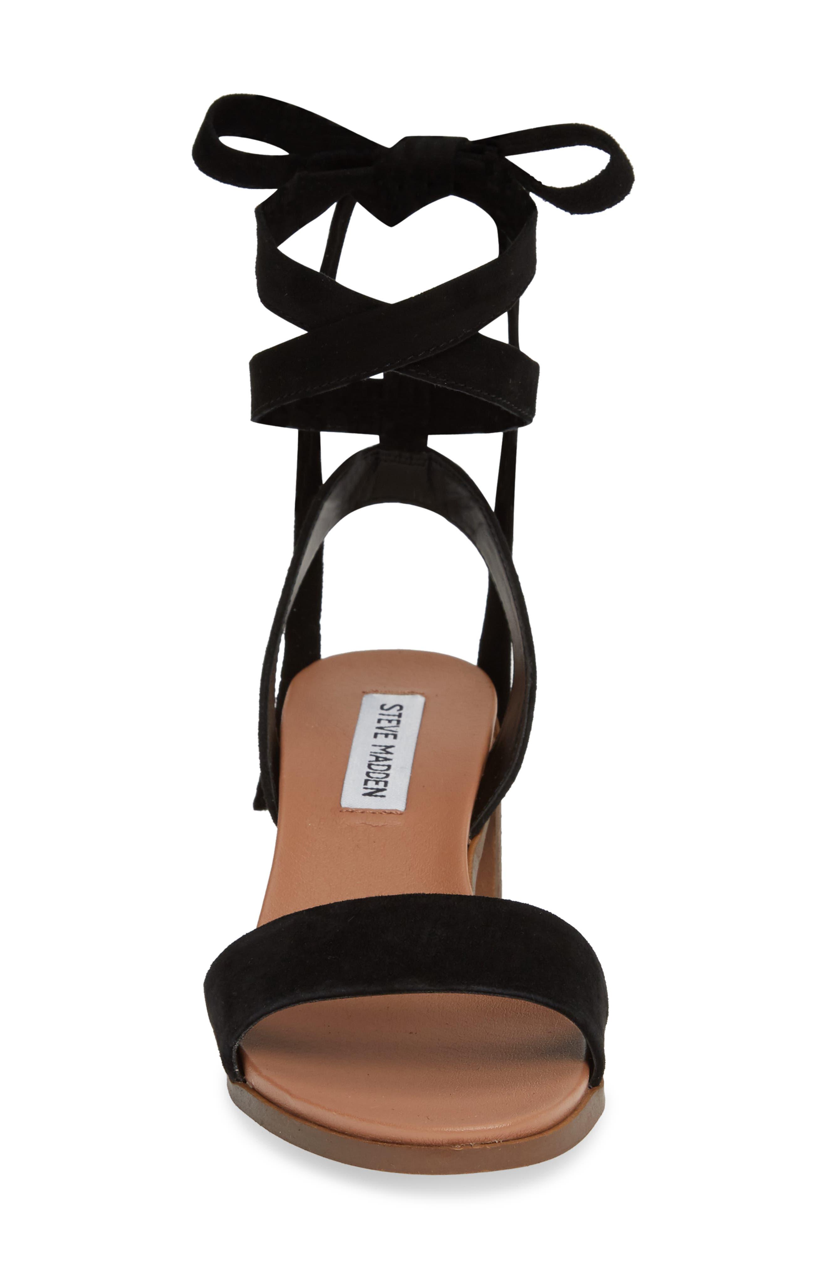 ,                             Adrianne Ankle Wrap Sandal,                             Alternate thumbnail 4, color,                             BLACK SUEDE