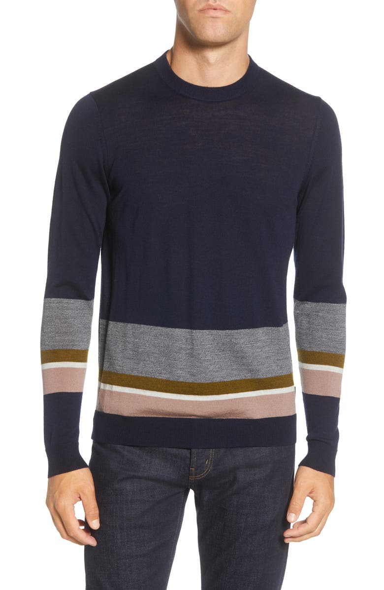 TED BAKER LONDON Host Colorblock Stripe Sweater, Main, color, 402