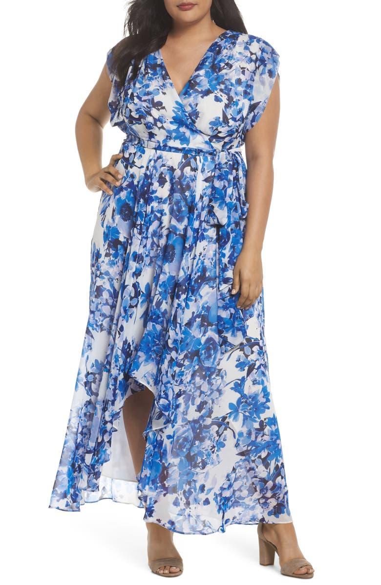 ELIZA J Tie Waist Maxi Dress, Main, color, 421