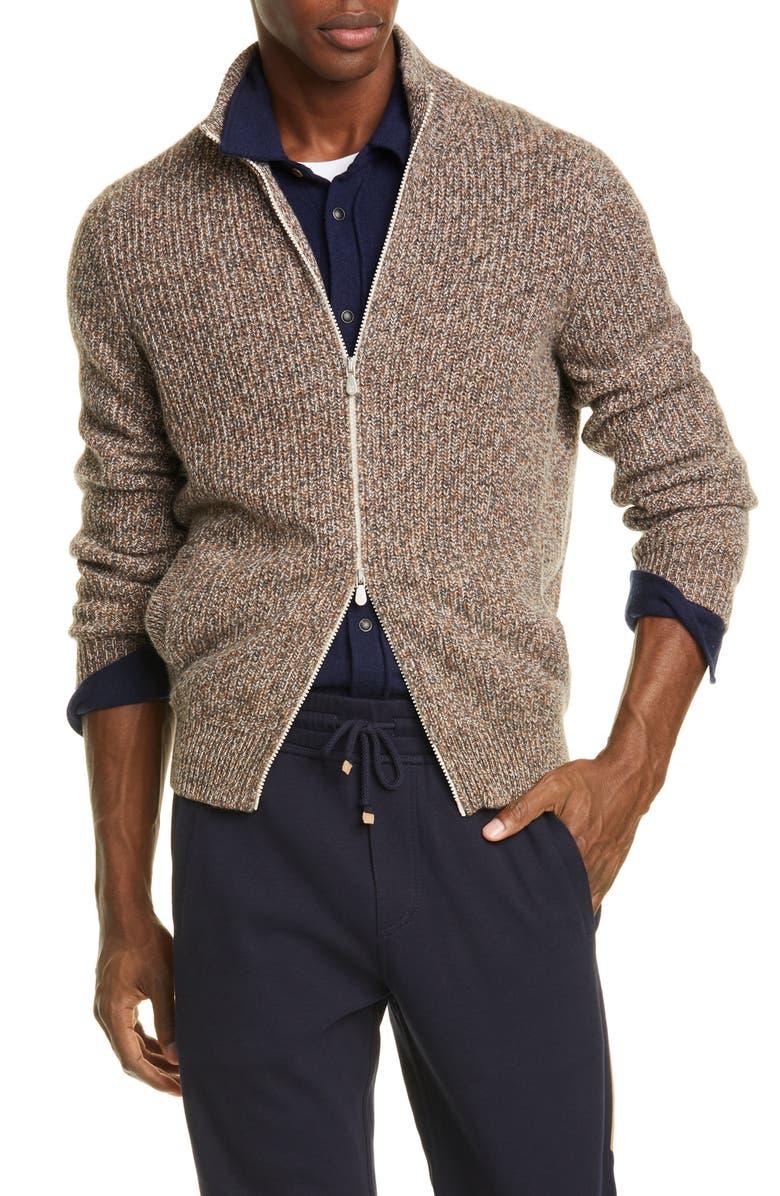 BRUNELLO CUCINELLI Melange Cashmere Full Zip Cardigan, Main, color, 090