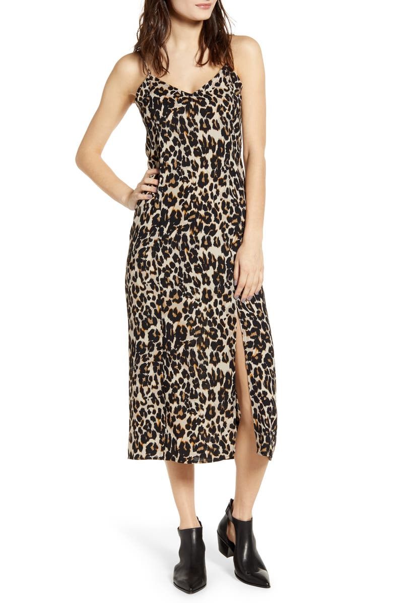 BP. Midi Slipdress, Main, color, BEIGE BIRCH LEOPARD DASH