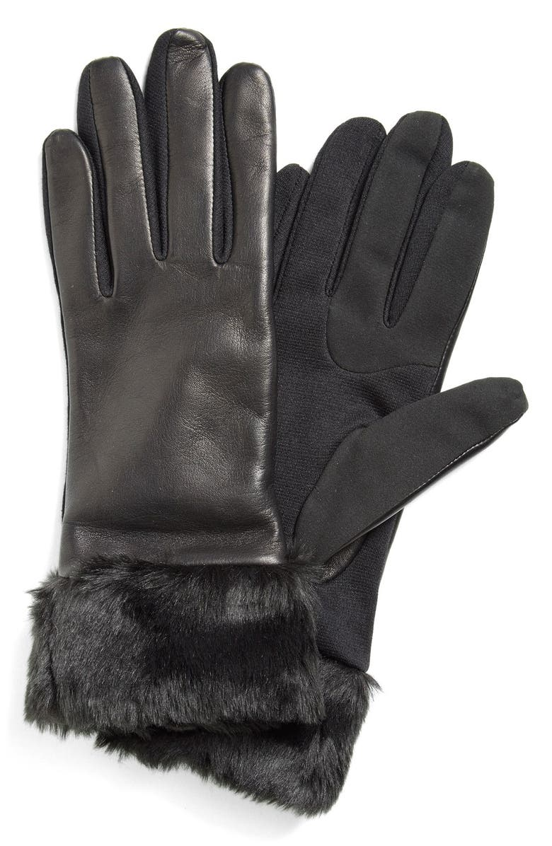 FOWNES BROTHERS FownesBrothers Leather Tech Gloves with FauxFur Trim, Main, color, 001
