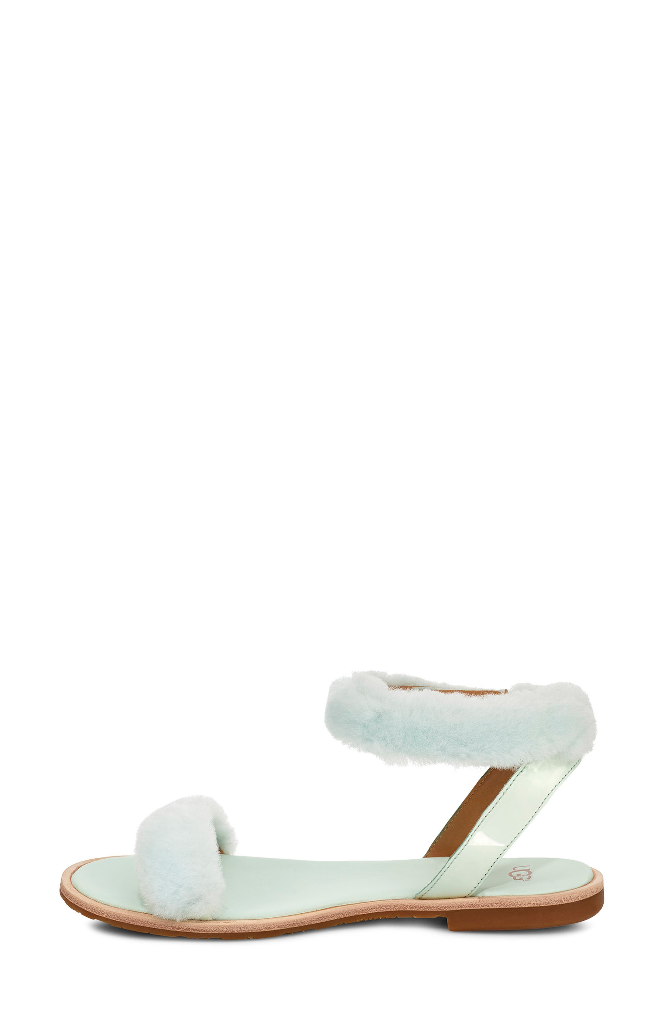 ,                             Fluff Springs Genuine Shearling Sandal,                             Alternate thumbnail 6, color,                             AGAVE GLOW