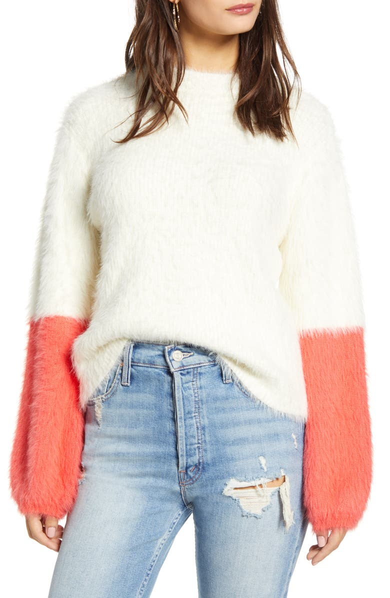 PRMA Colorblock Sleeve Eyelash Sweater, Main, color, CREAM WITH HOT PINK