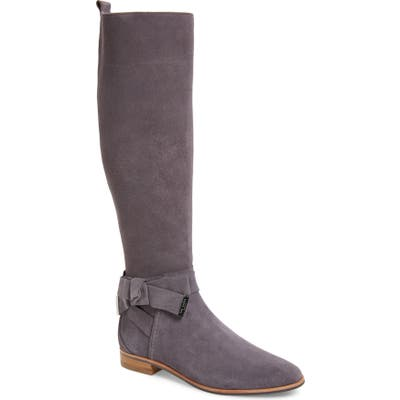Ted Baker London Sintial Knotted Strap Knee High Boot, Grey