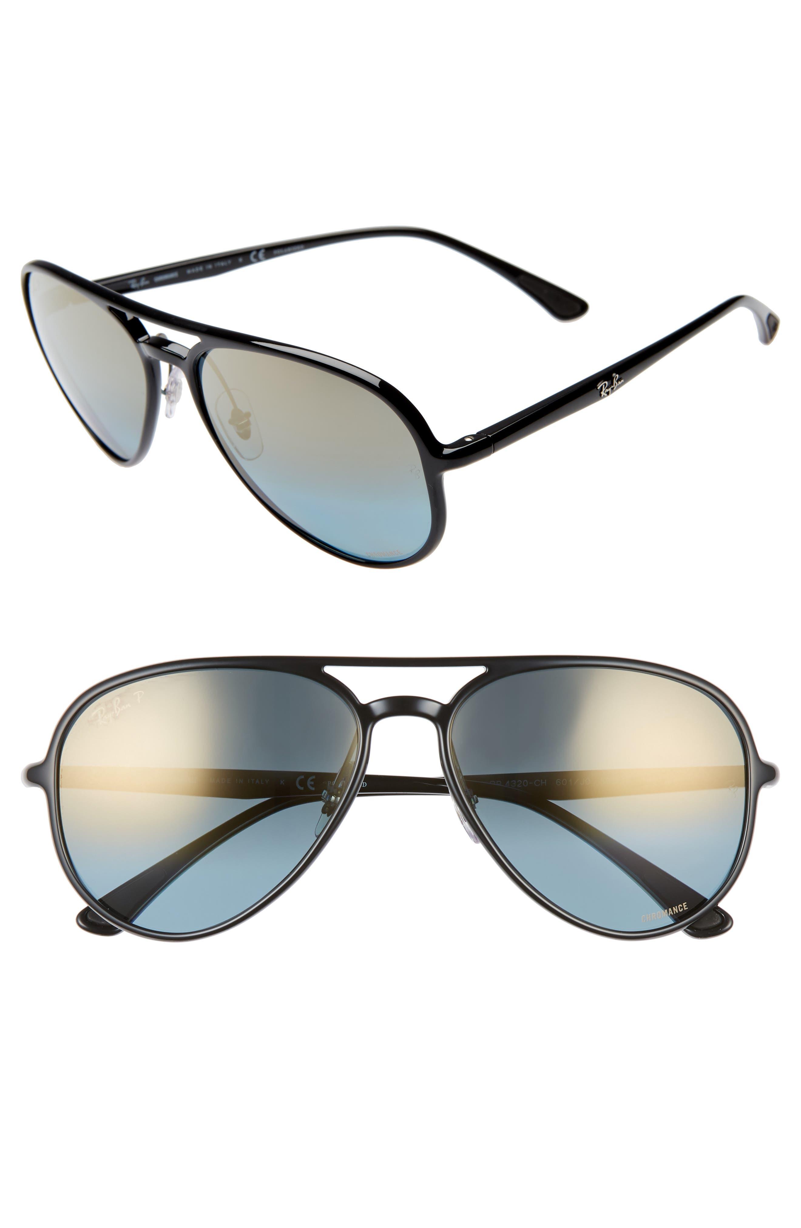 Ray-Ban 5m Chromance Polarized Aviator Sunglasses - Black/ Gold Mirror