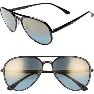 Ray-Ban 5m Chromance Polarized Aviator Sunglasses - Black/ Gold Mirror