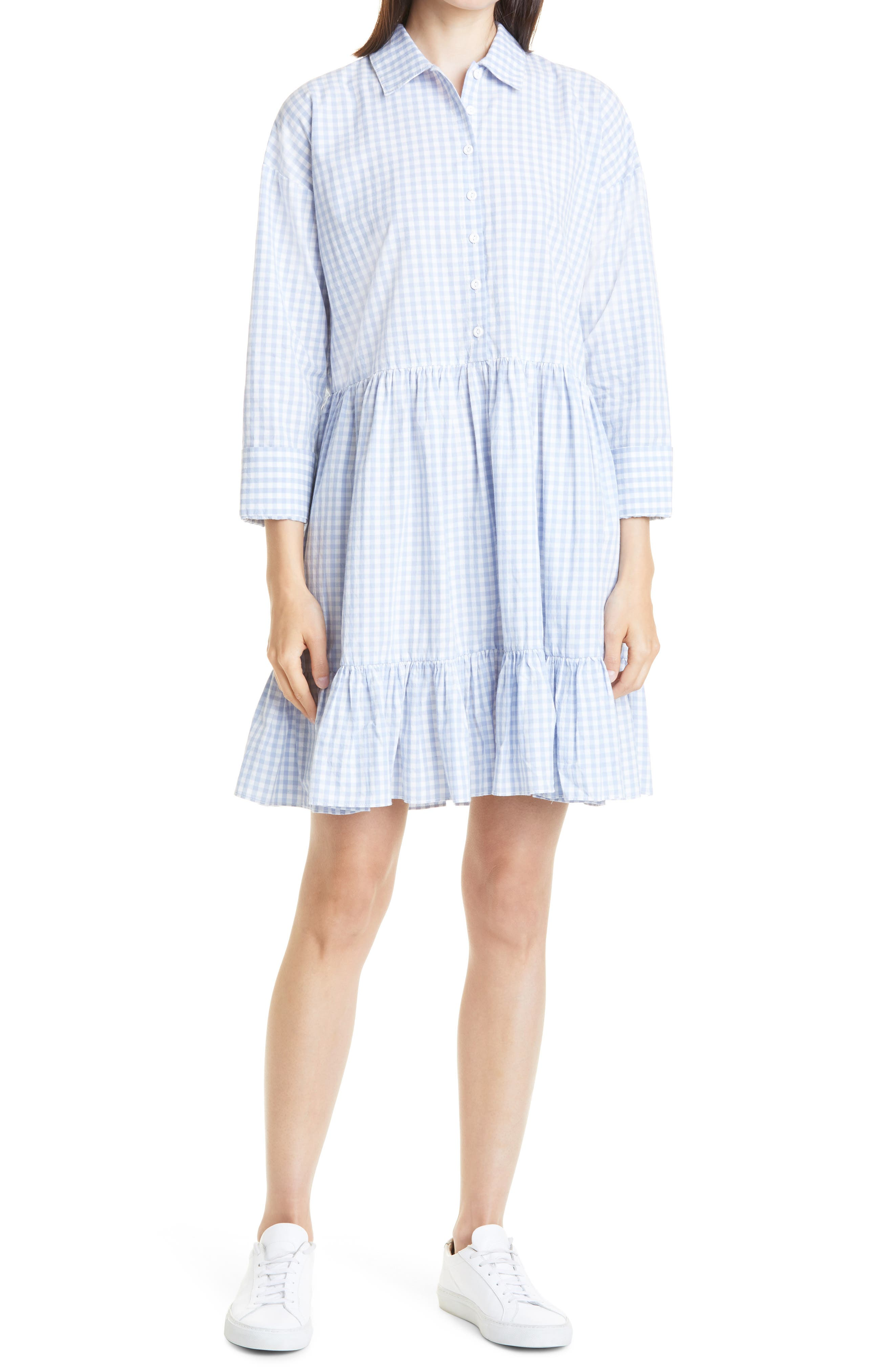 Check Tiered Cotton Dress