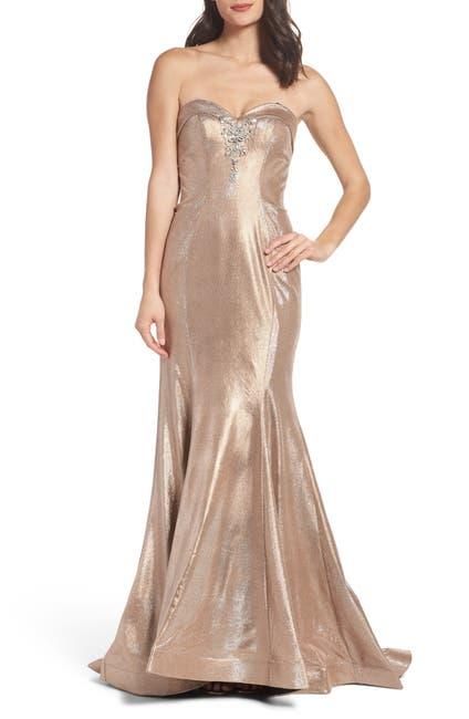Image of Mac Duggal Strapless Metallic Trumpet Dress