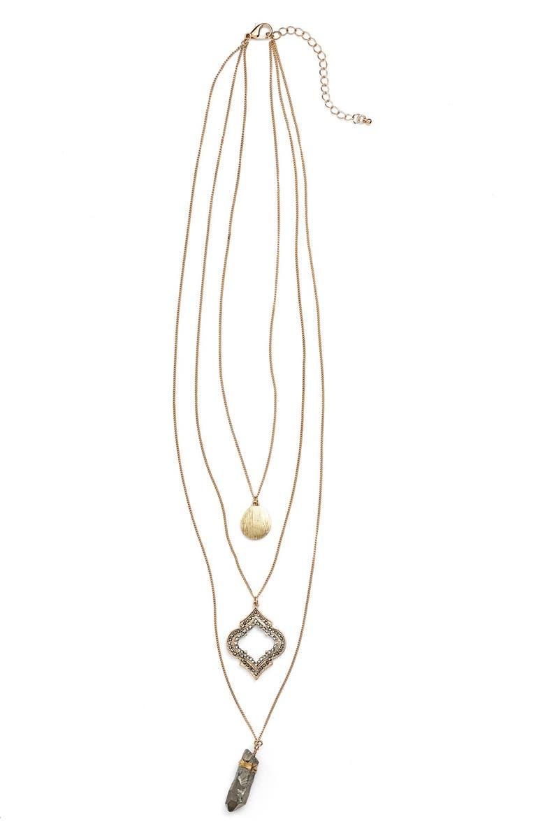 BP. Three Row Vintage Crystal Pendant Necklace, Main, color, 710