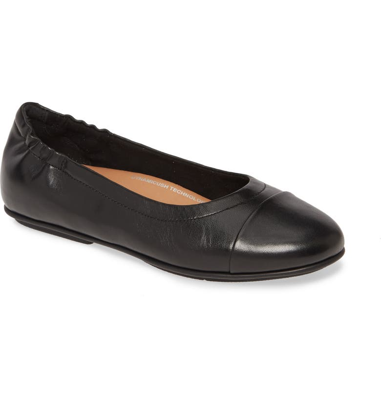 FITFLOP Allegro Cap Toe Ballet Flat, Main, color, ALL BLACK LEATHER