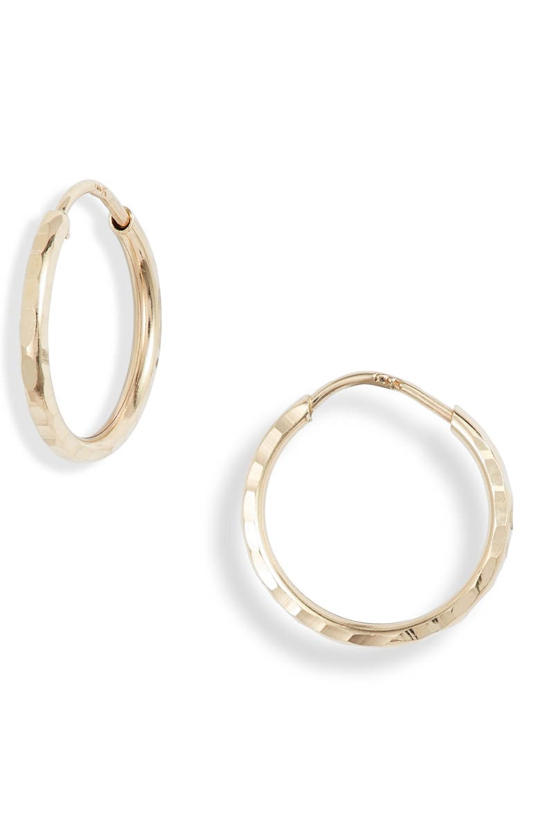 BONY LEVY Hammered Hoop Earrings, Main, color, YELLOW GOLD