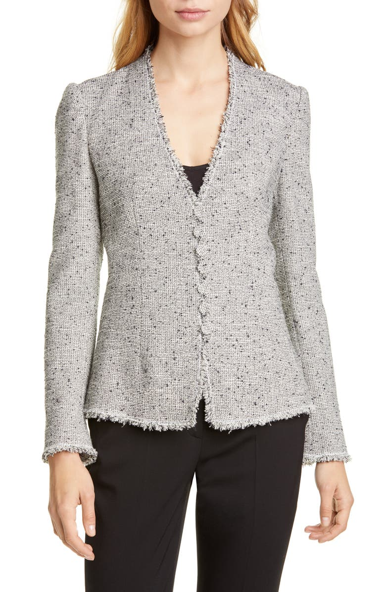 Tailored By Rebecca Taylor Fringe Detail Tweed Jacket