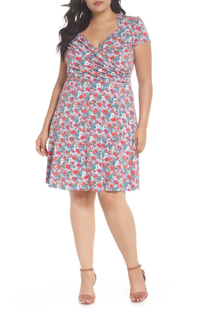 LEOTA Faux Wrap Jersey Dress, Main, color, 011